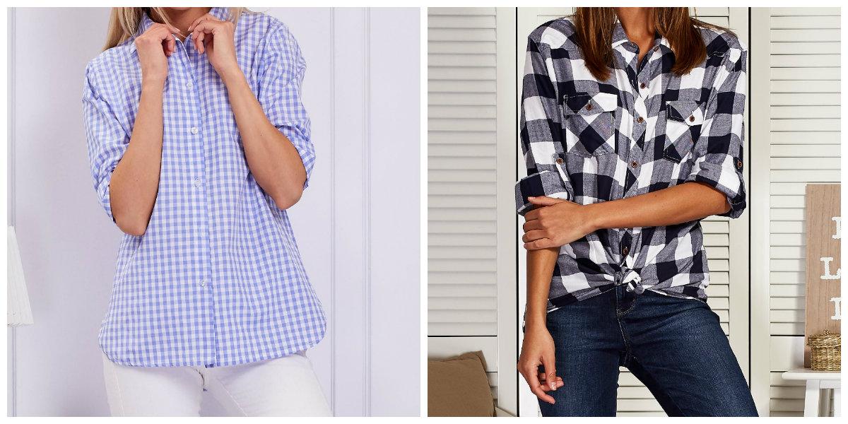 modne koszule damskie w kratę
