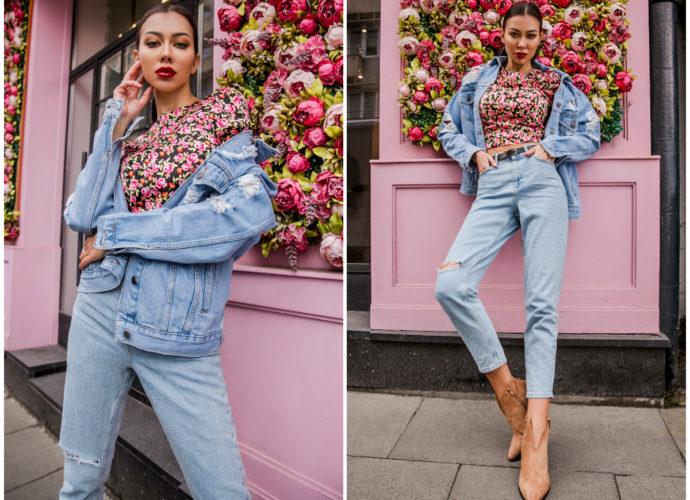 Dopasowane bluzki w kwiaty w stylizacji all denim look
