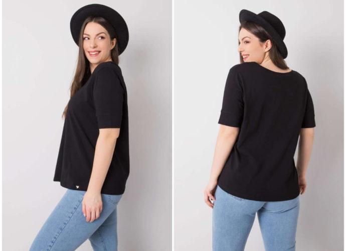 Czarne t-shirty plus size basic w stylizacji z jeansami