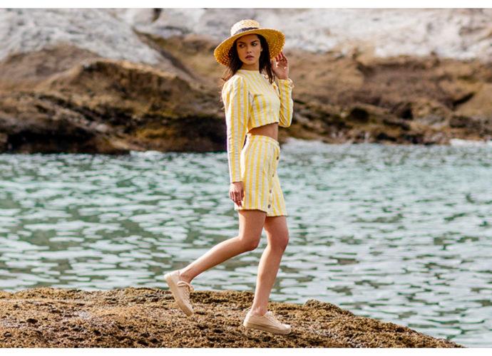 Biało-żółty komplet damski na lato ze spódnicą