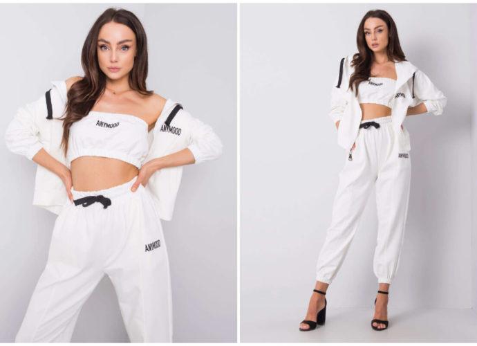 Białe komplety dresowe z topem, bluzą i joggerami