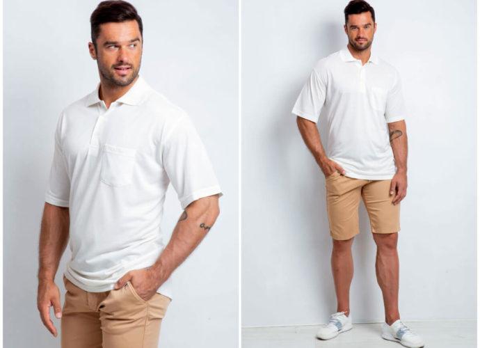 Stylizacja męski basic z koszulką polo i szortami