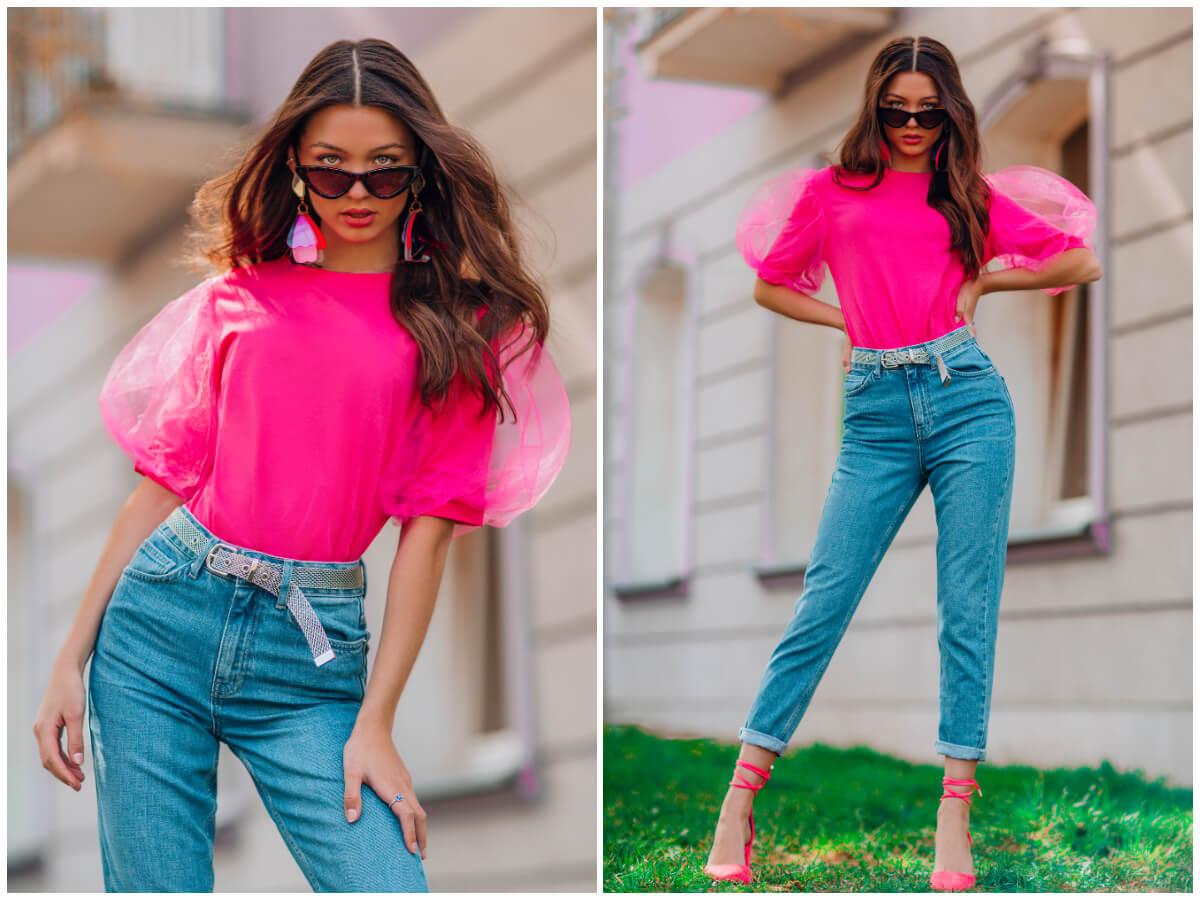 Stylizacje na wiosnę - jeansy, bluzka z bufkami i neonowe szpilki