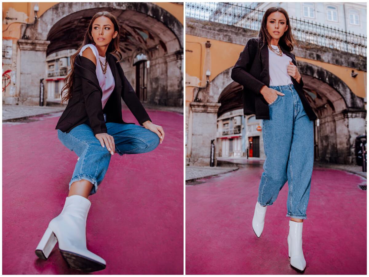 Stylizacje na wiosnę - mom jeans, czarna marynarka i białe botki na obcasie