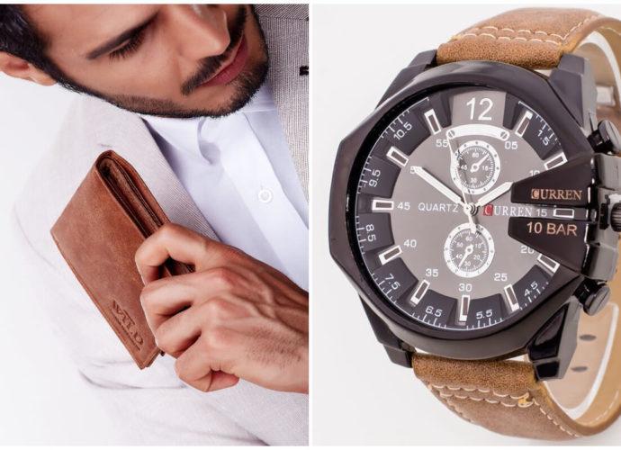 Prezenty na Dzień Ojca - skórzany brązowy portfel i zegarek na skórzanym pasku