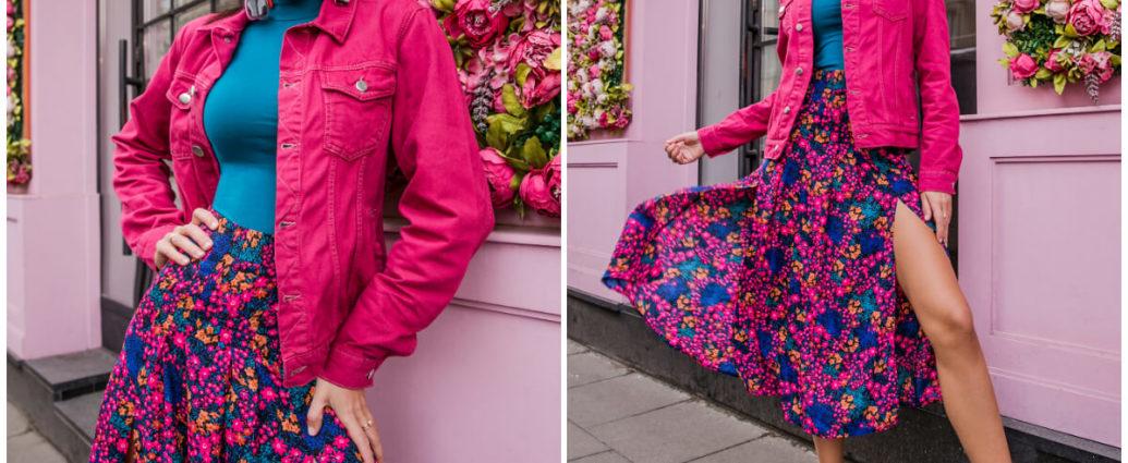 Stylizacje na wiosnę z różowymi wzorzystymi ubraniami
