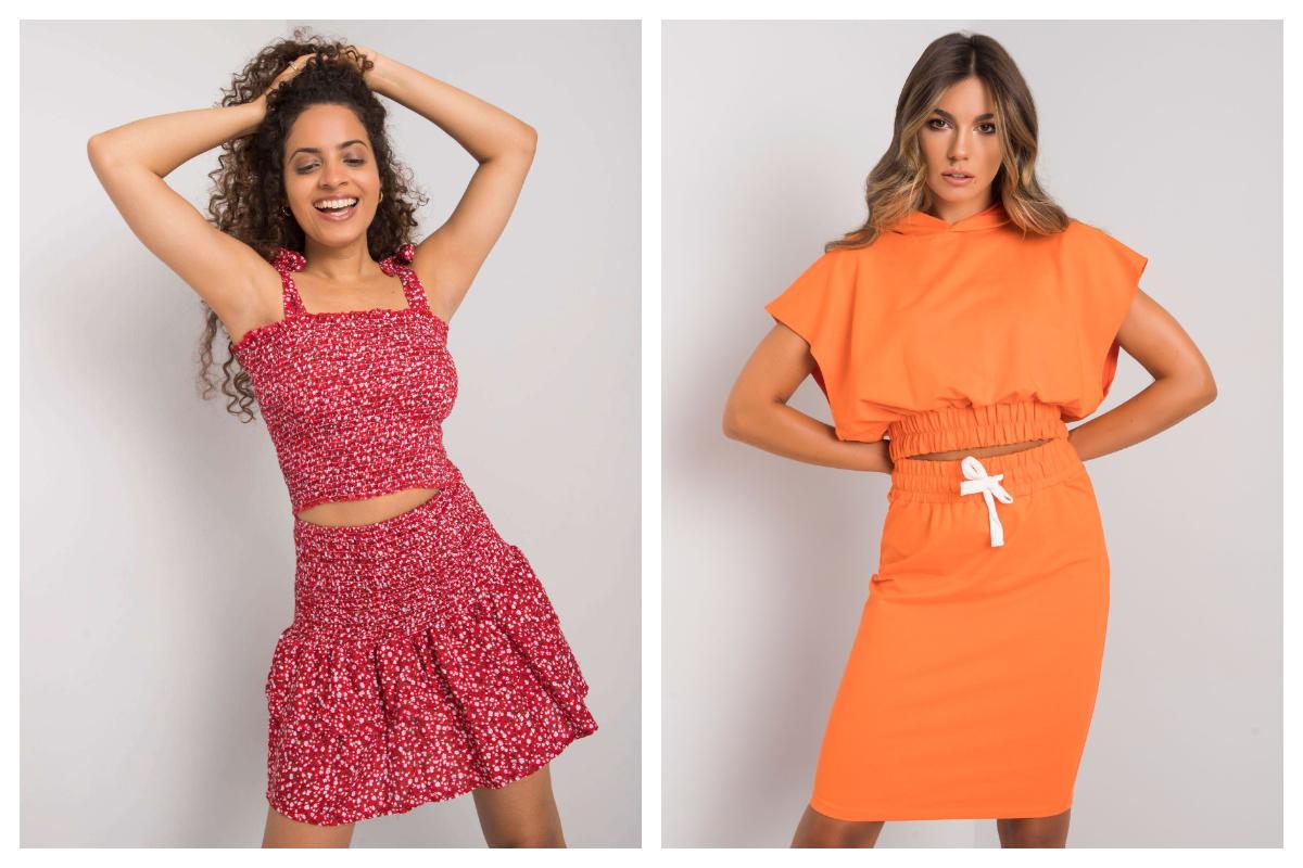Pomarańczowy total look składający się ze spódnicy i bluzy