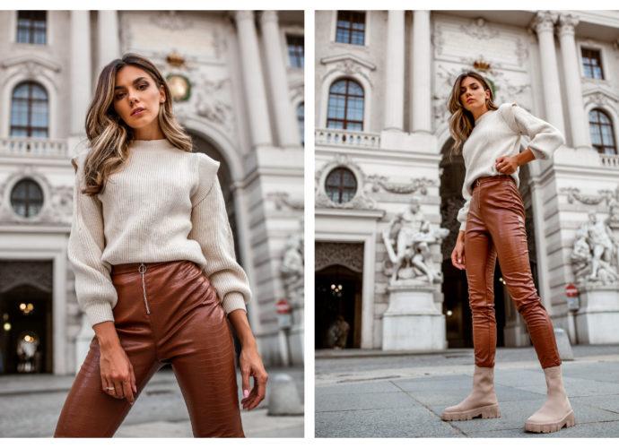 Skórzane legginsy damskie w kolorze brązowym