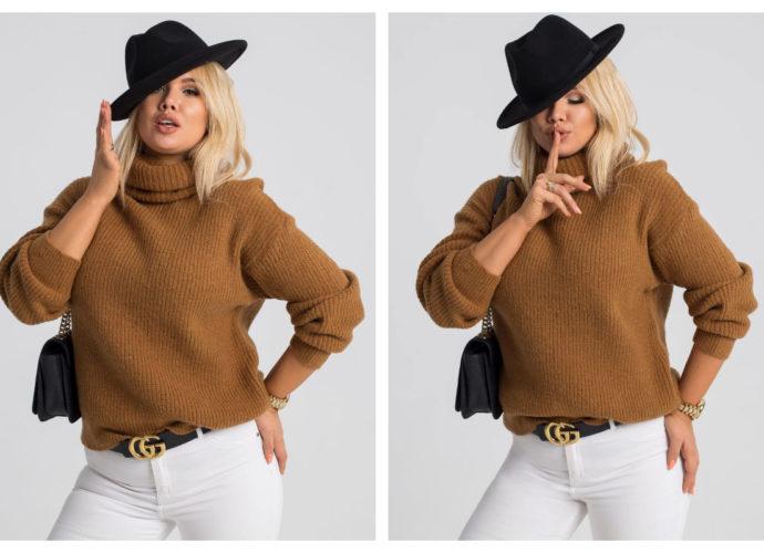Modny sweter plus size na jesień w kolorze brązowym