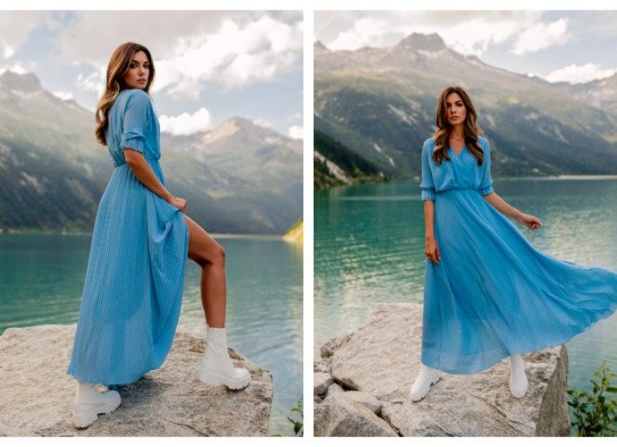 Sukienka maxi z gumką w pasie w kolorze niebieskim